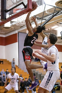 December 27, 2019 - Amir Gray of Quince Orchard leads one of many fast breaks against  Urbana. The Cougars jumped out to early lead and maitained at least a 22-point lead the entire game with QO winning 73-49 in the weekend David Griffin Invitational. Photo by Mike Clark/The Montgomery Sentinel