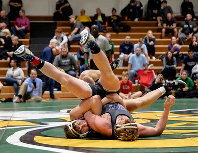 December 28, 2019 - Timmy Furgeson of Damascus takes down Lexx Carr of Sparrow's Point 8-1 in the finals of the 195-lb. weight class at the 2019 Damascus Holiday Tournament on December 28th. Photo by Mike Clark/The Montgomery Sentinel