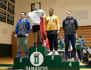 December 28, 2019 - Brandon Roberts of the Good Council Falcons takes 1st in the 285-lb. weight class in the 2019 Damascus Holiday Tournament on December 28 by beating Terrell Jackson of Bullis 5-3. Photo by Mike Clark/The Montgomery Sentinel