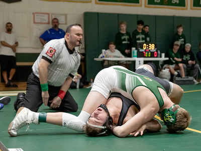 December 28, 2019 - Michael Emerick of Damascus moves up to the 138-lb. weight class and continues his winning way - this time beating Luke Hoenig of Sparrow's Point in the finals of the Damascus Holiday Tournament on December 28. Photo by Mike Clark/The Montgomery Sentinel