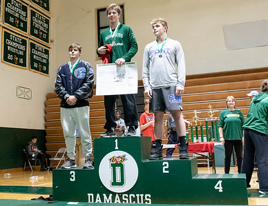 December 28, 2019 - Timmy Furgeson of Damascus takes the championship of the 195-lb. weight class at the 2019 Damascus Holiday Tournament on December 28th. Photo by Mike Clark/The Montgomery Sentinel
