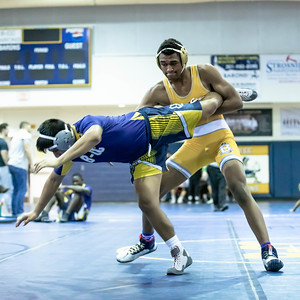 January 4, 2020 - Bullis' Austin Brown takes down BCC's Noah Bowers in the 182 lb. weight in the BCC vs Bullis duals match during the Battlin Baron Duals at BCC January 4th. Photo by Mike Clark/The Montgomery Sentinel