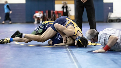 January 4, 2020 - Bullis' Isac Ruderman gets the take down on BCC's Jeo Martinez but Martinez rebounded for a 9-8 win in the 145 lb. weight class in the BCC vs Bullis duals at the January 4th Battlin Baron Duals at BCC. Photo by Mike Clark/The Montgomery Sentinel