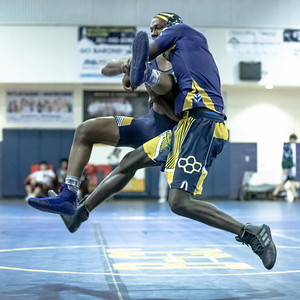 January 4, 2020 - BCC's Noah Bowers and Bullis' Austin Brown tangle in the 182 lb. weight in the BCC vs Bullis duals match during the Battlin Baron Duals at BCC January 4th. Brown recorded the pin in 1:41. Photo by Mike Clark/The Montgomery Sentinel