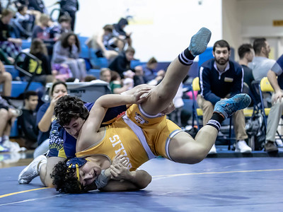 January 4. 2020 - Dan Shapiro of BCC takes down Kevin Lemus in a 3-0 victory in the 195 lb. weight class, which helped BCC beat Bullis in this duals match at the Battlin Barons Duals on January 4. Photo by Mike Clark/The Montgomery Sentinel