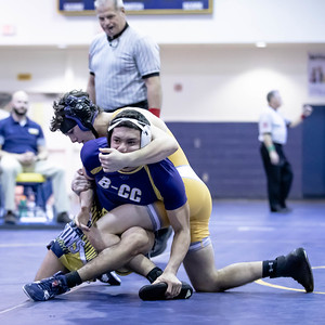 January 4. 2020 - Drew Guttentag of BCC gets wrapped up early by Liam Handel of Bullis but Guttentag turns the tables in gets the pin at 1:41 in the 152 lb. weight class duals match-up between BCC and Bullis at the 2020 Battlin Barons Duals at BCC on Janary 3rd and 4th. Photo by Mike Clark/The Montgomery Sentinel