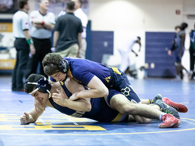 January 4, 2020 - BCC's Emmanuel Oladapo handles Bullis' Leondrea Ingram 11-3 to win the 170 lb. weight class in the BCC vs Bullis match-up  during the Battlin Baron Duals at BCC January 4th. Photo by Mike Clark/The Montgomery Sentinel