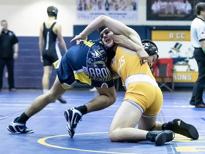 January 4. 2020 - Drew Guttentag of BCC starts his move on Liam Handel of Bullis to get the pin at 1:41 in the 152 lb. weight class duals match-up between BCC and Bullis at the 2020 Battlin Barons Duals at BCC on Janary 3rd and 4th. Photo by Mike Clark/The Montgomery Sentinel