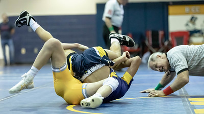 January 4, 2020 - Fabio Martinez of BCC takes down Gene Quodala  of Bullis but Quodala rebounded and recorded a pin at 2:07 in the 138 lb. weight class during the Battlin Barons Duals match. Photo by Mike Clark/The Montgomery Sentinel