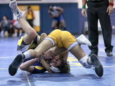 January 4, 2020 - BCC's Ardan Moffit tangles with Ethan Rathnell of Bullis. Moffit would prevail 8-5 in the 126 lb. weight class during the BCC vs Bullis duals match on January 4th. Photo by Mike Clark/The Montgomery Sentinel