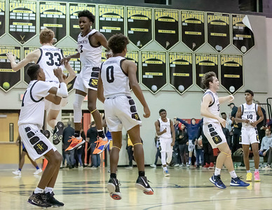 January 10, 2020 - The RIchard Montgomery Rockets hold on for a thrilling 74-73 win over late-charging Gaithersburg on January 10th to move to 9-2 on the year. Photo by Mike Clark/The Montgomery Sentinel