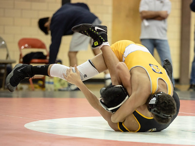 January 11, 2020 - Enzo Bell of Bullis makes quick work of Mt. Hebron's Lucas Lopez with a 1:23 fall for the 106 lb. weight class win at the 2020 Dorsey Duals. Photo by Mike Clark/The Montgomery Sentinel