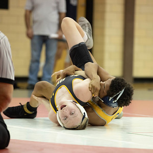 January 11, 2020 - NaSir Wilkinson of Bullis man-handles Mt. Hebron's Griffin Ordowski for the 120 lb. weight class win at the 2020 Dorsey Duals. Photo by Mike Clark/The Montgomery Sentinel
