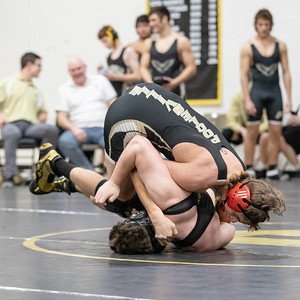 January 11, 2020 - Xavier Kresslein of host school Poolesville's takes down  William Garner of Richard Montgomery for the 170 lb. weight class win at the 2020 Dorsey Duals. Photo by Mike Clark/The Montgomery Sentinel