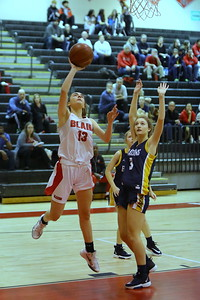 George P. Smith/The Montgomery Sentinel    Montgomery Blair's Kate Hildebrandt (13) with the layup past BCC's Lily Roberson (3).