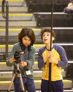 George P. Smith/The Montgomery Sentinel    Budding filmmakers making a film about Title IX during the Montgomery Blair-BCC girls varsity basketball game.