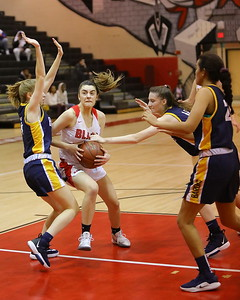 George P. Smith/The Montgomery Sentinel    Montgomery Blair's Kate Hildebrandt (13) takes on the BCC defense.