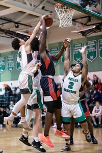 January 13, 2020 - Walter Johnson's Kai Holloway comes from behind to block the shot attempt by Normand Bayigamba of Wootton. Walter Johnson came back from a 10-point deficit but Wootton pulled ahead by one point in the closing seconds, Photo by Mike Clark/The Montgomery Sentinel