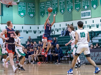 January 13, 2020 - Wootton's Will Margarites launches this end-of-half buzzer beater attempt and ended the game with 20 points against Walter Johnson at home during the  64-63 Wootton win.  Photo by Mike Clark/The Montgomery Sentinel