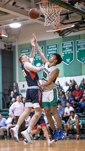 January 13, 2020 - Walter Johnson's Phil Stubin keeps Wootton's Conor Walsh out of the lane in the exciting last second 64-63 Wooton win at Walter Johnson on January 13th. Photo by Mike Clark/The Montgomery Sentinel