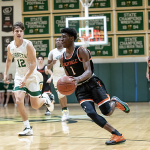 January 17, 2020 -  Aloye Expreso of Rockville leads a fast break in the second half for two of his 24 points in the 60-47 win over Damascus. Photo by Mike Clark/The Montgomery Sentinel