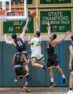 January 17, 2020 - The Rockville Rams defense denies the shot by Chris Shaw of Damascus. The Rams limited Damascus to only 47 points in the 60-47 loss at home on January 17. Photo by Mike Clark/The Montgomery Sentinel