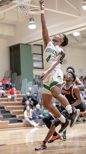 January 17, 2020 - Preston Murray of Damascus finishes off a fast break against Rockville. The Rams beat Damascus at home  60-47 on January 17. Photo by Mike Clark/The Montgomery Sentinel