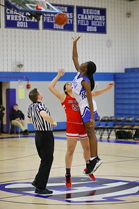 George P. Smith/The Montgomery Sentinel    Blake's Rachel Mutombe (21) out jumps Northwood's Andrea Cabrera (22) at the tip off.