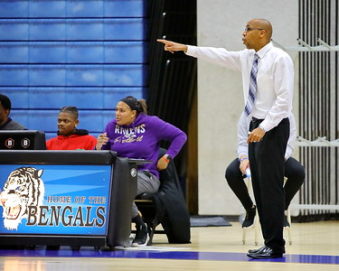 George P. Smith/The Montgomery Sentinel    Blake head coach Kenny Prather points out a player to be covered during the game.