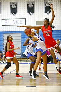 George P. Smith/The Montgomery Sentinel    Northwood's Laila Stanfill (12) tries to block Blake's Nadia Wilson (3) but ultimately sent her to the charity stripe,