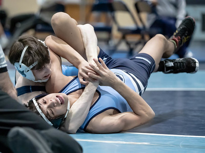 January 18, 2020 - Clarkburg's Alex Gonzales takes down Springbrook's Matt Kilby and gets the fall at 3:$6 for the 120 lb. weight class win at the Grapple at the Brook at Springbrook High School on January 19th. Photo by Mike Clark/The Montgomery Sentinel