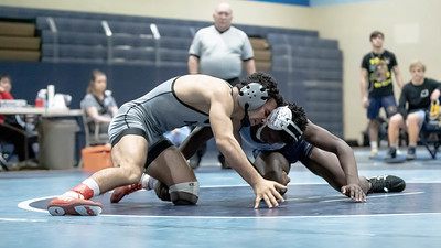 January 18, 2020 - In the match of the tournament, Northwest's Siavash Sarvestani battles Springbrook's Pierre Jean to a 6-4 finals victory in the 132 lb. weight class at the Grapple at the Brook at Springbrook High School on January 19th. Photo by Mike Clark/The Montgomery Sentinel