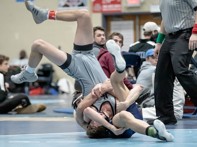 January 18, 2020 - Van Ngo, Springbrook's 113 lb. Junior gets the fall on Josh Lebowitz of Northwest at 4:41 in the finals of the Grapple at the Brook at Springbrook High School on January 19th. Photo by Mike Clark/The Montgomery Sentinel