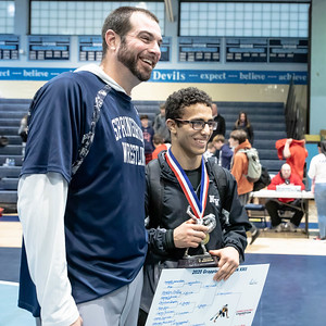 January 18, 2020 - Siavash Sarvestani of Northwest continues his winning ways with the 132 lb. weight class title and was selected by the coaches as the outstanding wrestler of the tournament  at the Grapple at the Brook at Springbrook High School on January 19th. Photo by Mike Clark/The Montgomery Sentinel