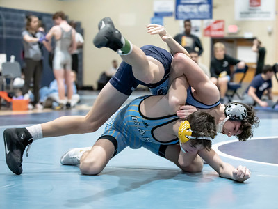 January 18, 2020 - Sophmore Grayson Wendel of Springbrook takes down Luke Bender of Cape Henlopen but Bender recovered an took the 138 lb. weight class with a 13-5 finals victory at the Grapple at the Brook at Springbrook High School on January 19th. Photo by Mike Clark/The Montgomery Sentinel