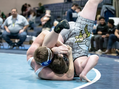 January 18, 2020 - Sherwood's Adam Pfeiffer falls Jackson Handlin of Cape Henlopen at 3:42 to take the 195 lb. weight class title at the Grapple at the Brook at Springbrook High School on January 19th. Photo by Mike Clark/The Montgomery Sentinel