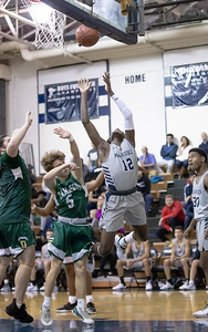 January 3, 2020 - Magruder's Michael Myrie draws the foul on his way to the basket in the lop-sided 95-63 win over the visiting Damascus Hornets on January 3rd. Photo by Mike Clark/The Montgomery Sentinel
