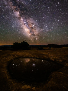 Milky Way with Star Spikes in a Pool