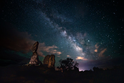 Balanced rock & Milky Way, Arches National Park