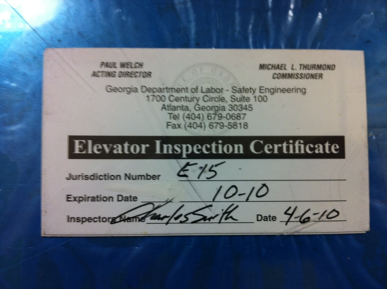 This photo was taken November 20, 2010.  This is the inspection certificate from the elevator of our hotel in Savannah, GA.  Note the 10/10 expiration date.