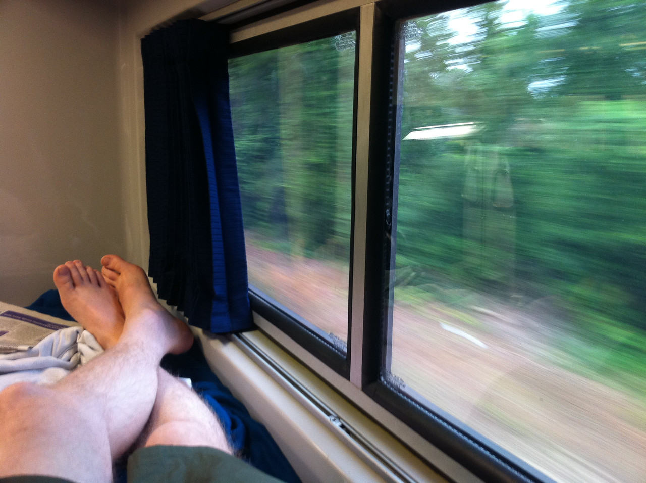 Lounging on the train
