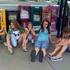 My daughter and friends wait for a hotel shuttle outside Pentagon City, in Virginia.