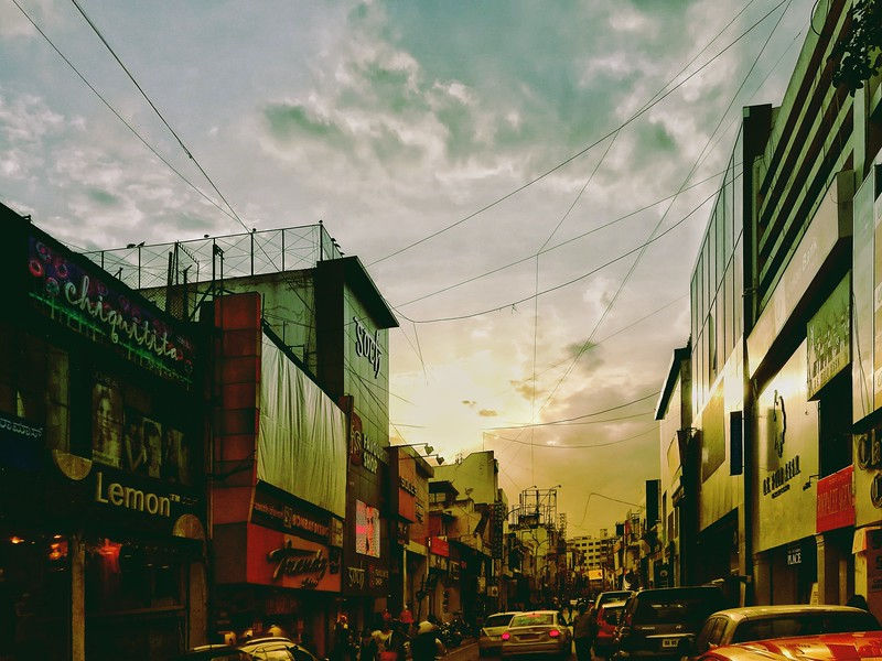 Sunset on Commercial Street, Bangalore