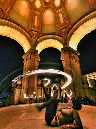 Fire twirling.  At the palace of fine arts, San Francisco. iArt made on my iPad. www.in2photos.smugmug.com/iArt