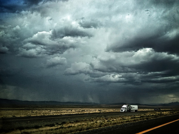 Big Rig on I 80 in Storm