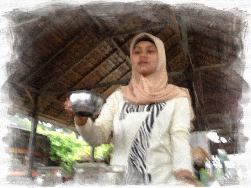 Moslem Waitress in Padang, Sumatra