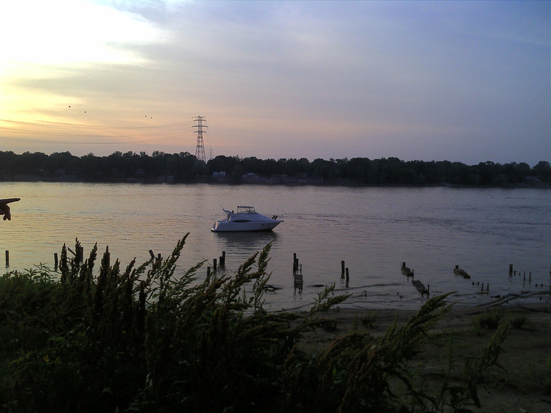 Boat on the Ohio river at Watertower Park in Louisville, KY. Taken while enjoying the annual Reggae Fest.