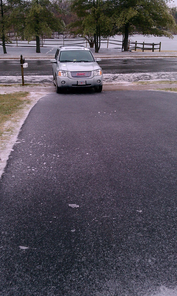 My truck slid down the driveway, unmanned. The truck was parked at the top of the driveway.<br /> 1/18/11