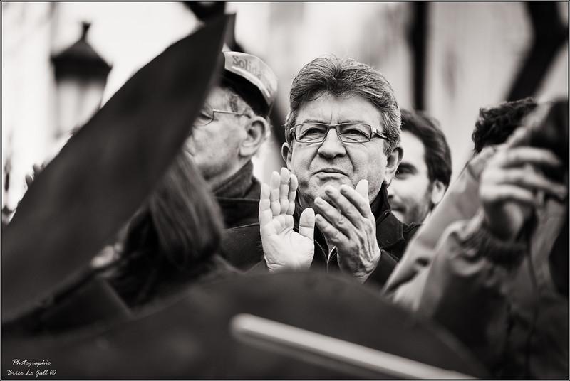 Jean-Luc Mélenchon en soutien à l'association Attac lors du procès intenté par Apple. Paris, le 12 février 2018.