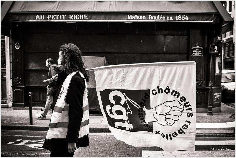 Manifestation contre la réforme de l'assurance chômage. Paris,  26 mars 2021.